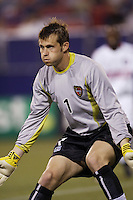 The MetroStars' goalkeeper Jonny Walker readies to face a shot. The Chicago Fire played the NY/NJ MetroStars to a one all tie at Giant's Stadium, East Rutherford, NJ, on May 15, 2004.