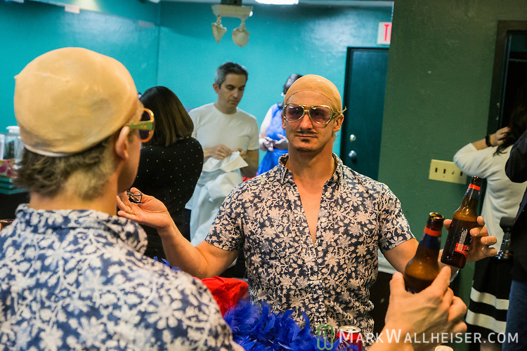 Marc Caputo, POLITICO Florida, as Pitbull in the dressing room prior to the 62nd Annual Press Skits 2017, The Crony Awards, sponsored by the Florida Capitol Press Corps, held at The Moon in Tallahassee, Florida March 14, 2017.  The funds raised go to the Barbara Frye Scholarship Fund supporting Florida journalism students attending Florida schools.
