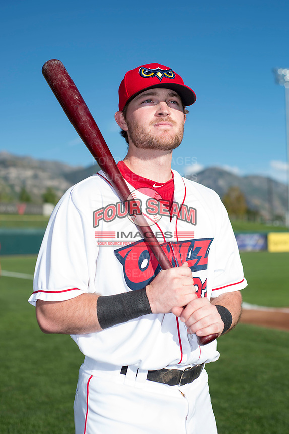 Orem Owlz infielder Justin Jones (33) poses for a photo prior to a Pioneer League game against the Ogden Raptors at the Home of the OWLZ on August 24, 2018 in Orem, Utah. The Ogden Raptors defeated the Orem Owlz by a score of 13-5. (Zachary Lucy/Four Seam Images)