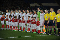 The Wales team sing the National anthem. Cardiff City Stadium, Cardiff, Wales, Wednesday 5th March 2014. The Football Association of Wales - Vauxhall International Friendly - Wales v Iceland. Pictures by Jeff Thomas Photography - www.jaypics.photoshelter.com - Contact: thomastwotimes@live.co.uk - 07837 386244
