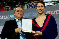 Marko Bijac Jug Dubrovnik Best Goalkeeper of the LEN European Champion League Final Six 2016 <br /> Water Polo LEN <br /> Trophy Ceremony<br /> Budapest, Alfred Hajos National Swimming Complex<br /> LEN 2016 Water Polo Champions League Final Six<br /> Budapest HUN June 2 - 5, 2016<br /> Day 3 June 4, 2016<br /> Photo Giorgio Scala/Deepbluemedia/Insidefoto