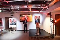 Picture by Simon Wilkinson/SWpix.com - 09/11/2018 - RLWC 2021 Rugby League World Cup 2021 Paul Barrière Trophy - The Cockerel Reveal, Avenue HQ. Leeds<br /> - Tony Collins and Jon Dutton
