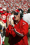 Madison, Wisconsin - 9/20/03. University of Wisconsin assistant coach Jeff Horton during the North Carolina game at Camp Randall Stadium. Wisconsin beat North Carolina 38-27. (Photo by David Stluka)