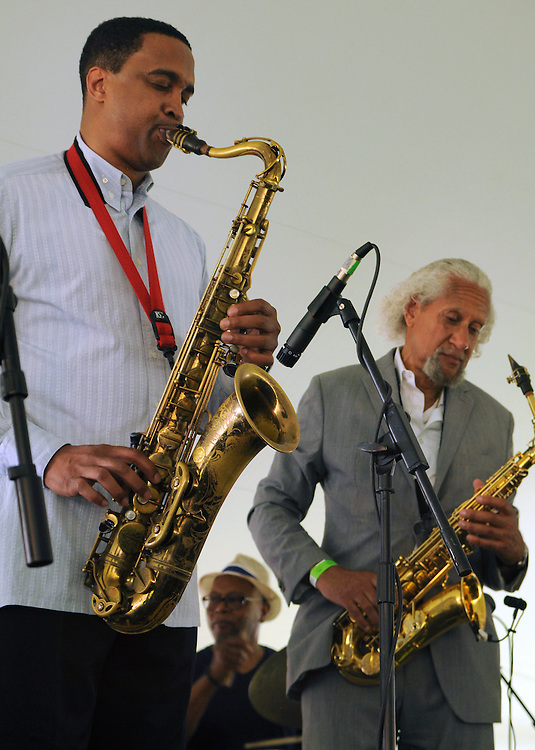 Saxophonists, Javon Jackson, and Gary Bartz, playing with The Message (an All-Star Band inspired by the legacy of Art Blakey's Jazz Messengers) performing at the 2014 Jazz in the Valley Festival held in Waryas Park on the Hudson River front in Poughkeepsie, NY on Sunday August 17, 2014. Photo by Jim Peppler. Copyright Jim Peppler 2014 all rights reserved.