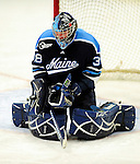 29 January 2010: University of Maine Black Bears' goaltender Scott Darling, a Sophomore from Lemont, IL, makes a third period save against the University of Vermont Catamounts at Gutterson Fieldhouse in Burlington, Vermont. The Black Bears defeated the Catamounts 6-3 in the first game of their America East weekend series. Mandatory Credit: Ed Wolfstein Photo