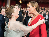 Oscar&reg; nominee for Actress in a Supporting Role, Lesley Manville and Oscar&reg; winner for performance by an Actress in a Supporting Role, Allison Janney, at the 90th Oscars&reg; at the Dolby&reg; Theatre in Hollywood, CA on Sunday, March 4, 2018.<br /> *Editorial Use Only*<br /> CAP/PLF/AMPAS<br /> Supplied by Capital Pictures