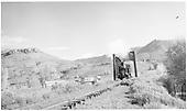 Slate River bridge - highway bridge in background.<br /> D&amp;RGW    10/5/1954