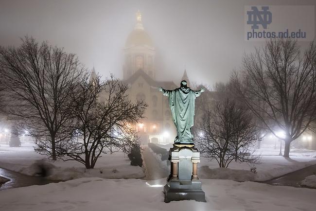 February 14, 2018; Main Building in the fog. (Photo by Matt Cashore/University of Notre Dame)