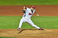 Max Bethell (45) of the Orem Owlz delivers a pitch to the plate against the Billings Mustangs in Game 2 of the Pioneer League Championship at Home of the Owlz on September 16, 2016 in Orem, Utah. Orem defeated Billings 3-2 and are the 2016 Pioneer League Champions. (Stephen Smith/Four Seam Images)
