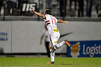 Orlando, FL - Saturday Jan. 21, 2017: São Paulo forward Gilberto (17) celebrates his game deciding successful penalty shot during the penalty kick shootout of the Florida Cup Championship match between São Paulo and Corinthians at Bright House Networks Stadium. The game ended 0-0 in regulation with São Paulo defeating Corinthians 4-3 on penalty kicks.