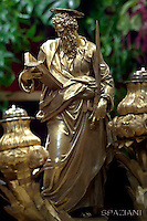 statue  Saint Paul; Basilica St Peter at the Vatican;Peter;Pope Francis solemnity of Saints Peter and Paul at St Peter's basilica in Vatican.June 29,2016