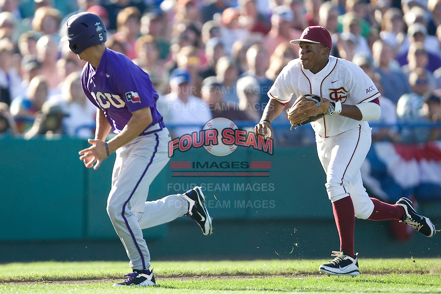 TCU's Rivera, Brance 2318.jpg against Florida State at the College World Series on June 23rd, 2010 at Rosenblatt Stadium in Omaha, Nebraska.  (Photo by Andrew Woolley / Four Seam Images)