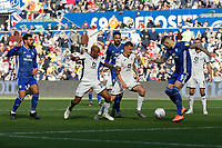 Andre Ayew and Ben Wilmot of Swansea City in action during the Sky Bet Championship match between Swansea City and Cardiff City at the Liberty Stadium, Swansea, Wales, UK. Sunday 27 October 2019