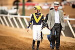AUG 11: Trainer Richard Mandella and Flavien Prat after a race at The Del Mar Thoroughbred Club in Del Mar, California on August 11, 2019. Evers/Eclipse Sportswire/CSM