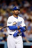 Matt Kemp #27 of the Los Angeles Dodgers bats against the Colorado Rockies at Dodger Stadium on September 29, 2012 in Los Angeles, California. Los Angeles defeated Colorado 3-0. (Larry Goren/Four Seam Images)