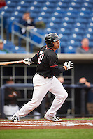 Quad Cities River Bandits third baseman Nick Tanielu (30) at bat during the first game of a doubleheader against the Wisconsin Timber Rattlers on August 19, 2015 at Modern Woodmen Park in Davenport, Iowa.  Quad Cities defeated Wisconsin 3-2.  (Mike Janes/Four Seam Images)