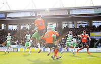 Glen Rea of Luton Town heads in his sides third goal during the Sky Bet League 2 match between Yeovil Town and Luton Town at Huish Park, Yeovil, England on 4 March 2017. Photo by Liam Smith / PRiME Media Images.