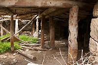 Timbers holding up a traditional Anatolian house in Bünyan, Kayseri, Turkey