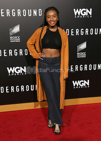 "WESTWOOD, CA - February 28: Imani Hakim, At Premiere Of WGN America's ""Underground"" Season 2, At The Regency Village Theatre In California on February 28, 2017. Credit: Faye Sadou/MediaPunch"