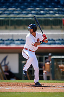 Florida Fire Frogs Brett Langhorne (23) during a Florida State League game against the Jupiter Hammerheads on April 11, 2019 at Osceola County Stadium in Kissimmee, Florida.  Jupiter defeated Florida 2-0.  (Mike Janes/Four Seam Images)