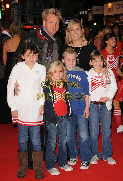 "GORDON RAMSAY, TANA RAMSAY & their children MEGAN, MATILDA, JACK & HOLLY .Attending the UK Film Premiere of ""High School Musical 3: Senior Year"" at the Empire Leicester Square in London, England, UK, October 7th 2008..full length family husband wife kids  .CAP/CAS.©Bob Cass/Capital Pictures"