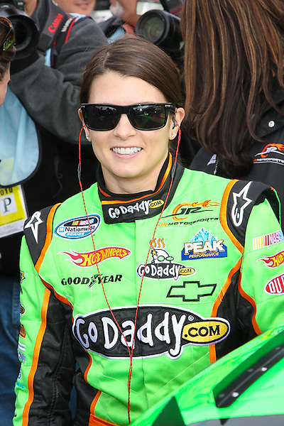Danica Patrick before the start of her first career Nationwide Race at Auto Club Speedway in Fontana, CA.