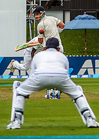 Hamish Rutherford is caught behind during day one of the 2nd cricket test match between the New Zealand Black Caps and Sri Lanka at the Hawkins Basin Reserve, Wellington, New Zealand on Saturday, 3 February 2015. Photo: Dave Lintott / lintottphoto.co.nz
