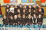 Mrs Máire Nic Mhathúnas class pictured on their first day of school at Gaelscoil Mhic Easmainn national school, Tralee on FridayFront left Melody Ní Dhubhlainn, Éabha Ní Fhinn, Alancy Ní She Breathnach, Maggie Ní Thoibín Spealain, Tia Lina Ní Dhuinneacha, Zara Ní Bhriain, Caoimhe Ní Ghrifín, Clódagh de Mordha..Middle: Pascal Ó Buachalla, Nathan Ó Hódhráin, Daithí Ó Finn, Joshua Mac Cearthaigh, Coilín Pleamann, Oisín Ty Ó Cearúil, Cillian Ó Grifín..Back row: Seán Óg Ó Maoil Mhichil, Domhnall O Maoldomnaigh, Ryan Hand, Óisín Stafford, Seán deBairead, Adam Kenny, Donnchadh Mac Uileadgóid Máire Nic Mheathúna...