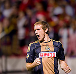 Philadelphia Union forward Fernando Aristeguieta (18) celebrates his goal against Real Salt Lake in the first half Saturday, March 14, 2015, during the Major League Soccer game at Rio Tiinto Stadium in Sandy, Utah. (© 2015 Douglas C. Pizac)