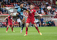 Aaron Holloway of Wycombe Wanderers and Sonny Bradley of Crawley Town during the Sky Bet League 2 match between Crawley Town and Wycombe Wanderers at Checkatrade.com Stadium, Crawley, England on 29 August 2015. Photo by Liam McAvoy.