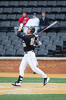 Gavin Sheets (24) of the Wake Forest Demon Deacons follows through on his swing against the Appalachian State Mountaineers at Wake Forest Baseball Park on February 13, 2015 in Winston-Salem, North Carolina.  The Mountaineers defeated the Demon Deacons 10-1.  (Brian Westerholt/Four Seam Images)