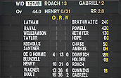 1st December 2017, Basin Reserve, Wellington, New Zealand; International Test Cricket, Day 1, New Zealand versus West Indies;  Scoreboard