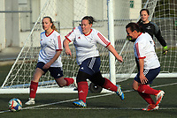 Action from the Capital women's Executive Plate football match between Brooklyn Northern United Salty Pidgins and Porirua City AFC at Wakefield Park in Wellington, New Zealand on Sunday, 16 July 2017. Photo: Dave Lintott / lintottphoto.co.nz