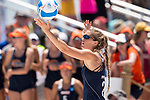 GULF SHORES, AL - MAY 07: Sarah Seiber (24) of Pepperdine University serves the ball during the Division I Women's Beach Volleyball Championship held at Gulf Place on May 7, 2017 in Gulf Shores, Alabama. The University of Southern California defeated Pepperdine 3-2 to claim the national championship. (Photo by Stephen Nowland/NCAA Photos via Getty Images)