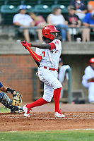 Greenville Reds Danielito Remy (7) swings at a pitch during a game against the Elizabethton Twins at Pioneer Park on June 29, 2019 in Greeneville, Tennessee. The Twins defeated the Reds 8-1. (Tony Farlow/Four Seam Images)