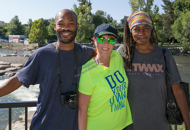 Tyrone, Georgee and Terri during the Pride Parade in Reno, Nevada on Saturday, July 27, 2019.