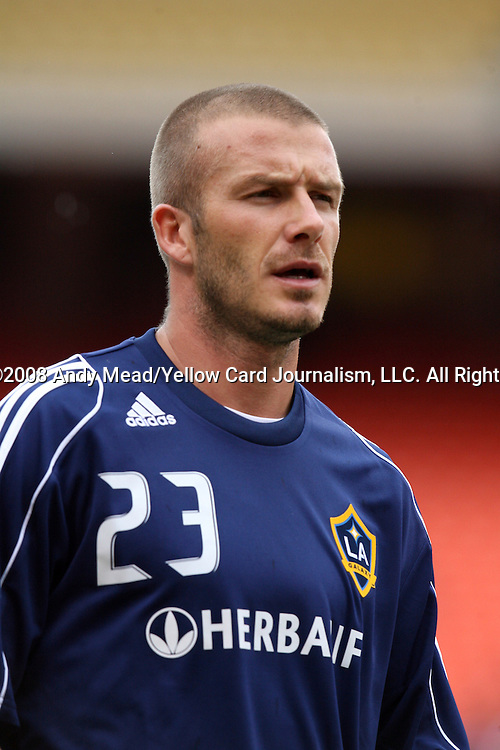 13 September 2008: LA's David Beckham (ENG). The Kansas City Wizards defeated the Los Angeles Galaxy 2-0 at Arrowhead Stadium in Kansas City, Missouri in a 2008 Major League Soccer regular season game.