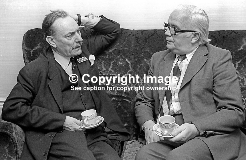 Accountants' conference, Slieve Donard Hotel, Newcastle, Co Down, N Ireland, 4th October 1975. Guests, local Ulster Unionist MP, Enoch Powell, left, with local trade unionist, Brendan Harkin, N Ireland Civil Service Alliance, exchange views during a break in the proceedings. 197510040681c<br />