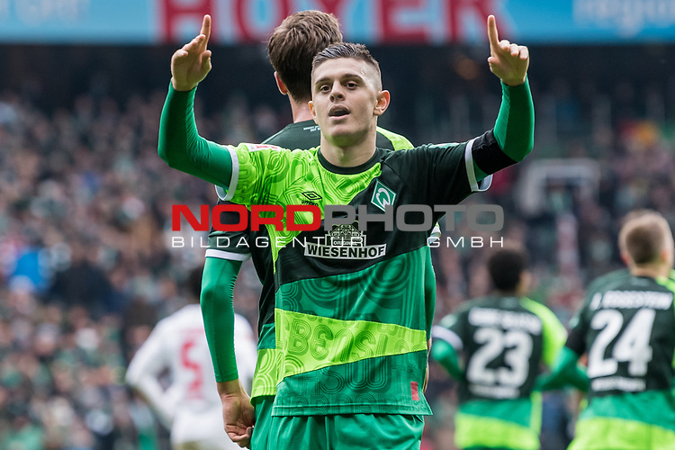 10.02.2019, Weserstadion, Bremen, GER, 1.FBL, Werder Bremen vs FC Augsburg<br /> <br /> DFL REGULATIONS PROHIBIT ANY USE OF PHOTOGRAPHS AS IMAGE SEQUENCES AND/OR QUASI-VIDEO.<br /> <br /> im Bild / picture shows<br /> Milot Rashica (Werder Bremen #11) bejubelt seinen Treffer zum 3:0 Richtung Fans, <br /> <br /> Foto &copy; nordphoto / Ewert