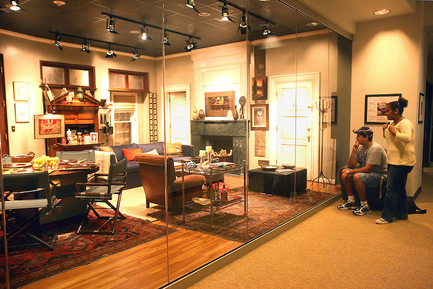 The set of Will & Grace in the Iwasaki Library. Photo of Aja Neahring