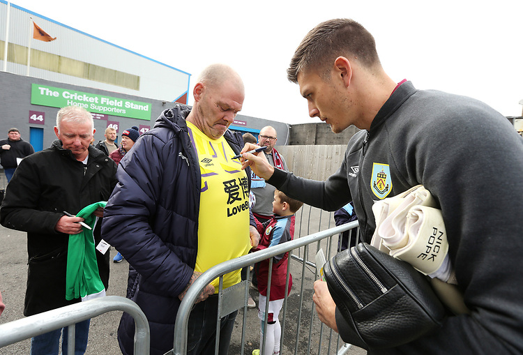 Burnley's Nick Pope signs autographs for waiting fans as he arrives ahead of kick-off at Turf Moor<br /> <br /> Photographer Rich Linley/CameraSport<br /> <br /> The Premier League - Burnley v Everton - Saturday 5th October 2019 - Turf Moor - Burnley<br /> <br /> World Copyright © 2019 CameraSport. All rights reserved. 43 Linden Ave. Countesthorpe. Leicester. England. LE8 5PG - Tel: +44 (0) 116 277 4147 - admin@camerasport.com - www.camerasport.com