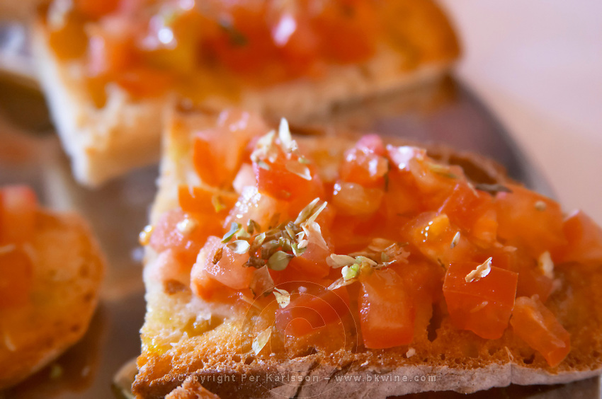 In the restaurant. Tomato on bread. Herdade da Malhadinha Nova, Alentejo, Portugal