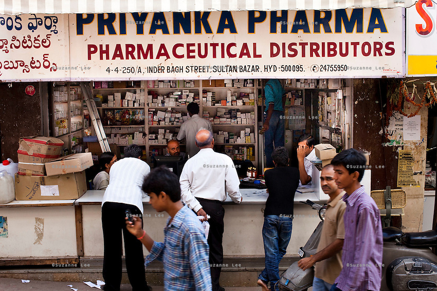 Pharmaceutical wholesalers do brisk business on a regular day in Sultan Bazar, Hyderabad, Andhra Pradesh, India on 28 November 2011. Photo by Suzanne Lee for Capa Pictures