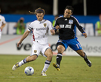 Kyle Beckerman kicks the ball in front of Arturo Alvarez, during a 3-2 victory by Real Salt Lake in Santa Clara, California, Sept., 27, 2008. Photo by John Todd/isiphotos.com