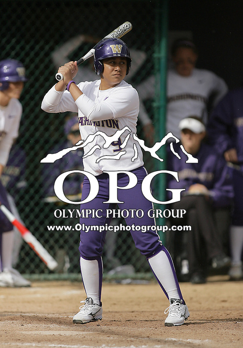 23 May 2010:  Washington Huskies#9 Jerrin Fa'asua sets up in the batters box against the University of North Carolina.  Washington defeated the University of North Carolina 2-1 in eight innings at Husky Softball Stadium in Seattle, WA to advance in the NCAA regional tournament.