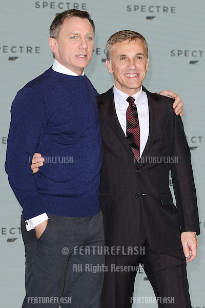 "Daniel Craig and Christoph Waltz at the announcement of the start of filming on the new James Bond movie ""Spectre"" at Pinewood Studios, London. 04/12/2014 Picture by: Steve Vas / Featureflash"