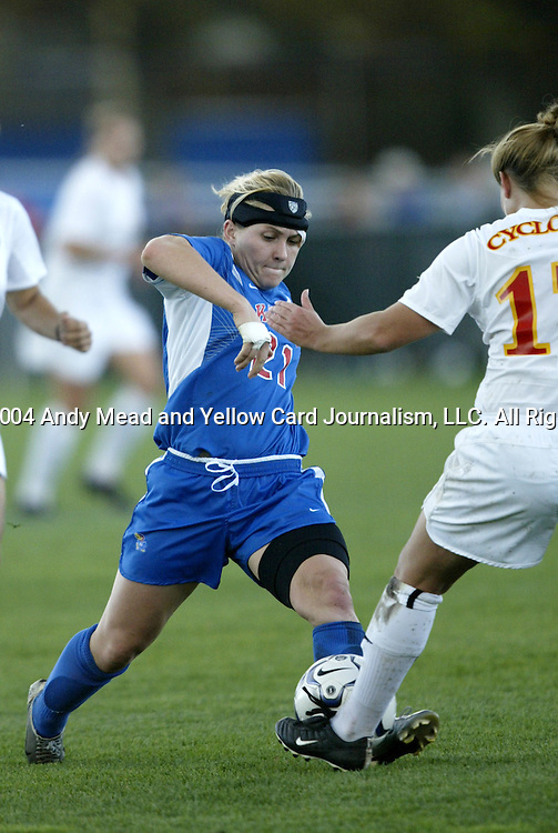 29 October 2004: Caroline Smith (21). Kansas defeated Iowa State 4-0 in Lawrence, KS to clinch the Big XII Conference Womens Soccer Championship..