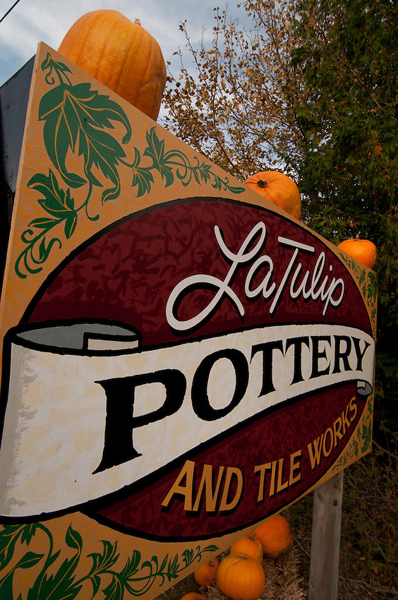 Road signage for LaTulip Pottery and Tile Works in Garden Michigan.