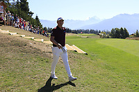 Matt Wallace (ENG) walks onto the 7th tee during Saturday's Round 3 of the 2018 Omega European Masters, held at the Golf Club Crans-Sur-Sierre, Crans Montana, Switzerland. 8th September 2018.<br /> Picture: Eoin Clarke | Golffile<br /> <br /> <br /> All photos usage must carry mandatory copyright credit (&copy; Golffile | Eoin Clarke)