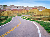 Road in Badlands National Park, South Dakota.
